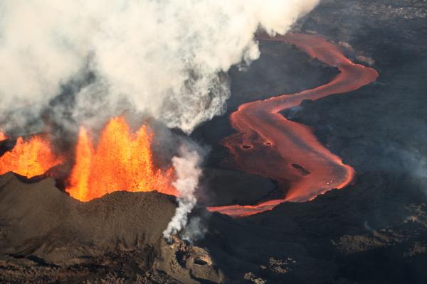 Live vanaf de actieve vulkaan!